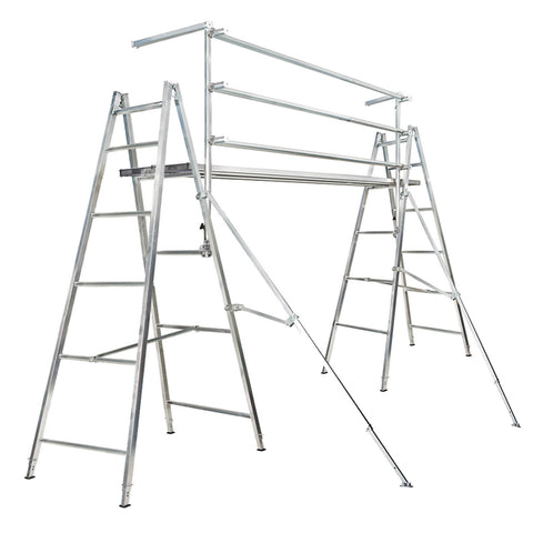 Complete Single Bay 2.4m Trestles - Adj. + 3.0m Planks - Dlx. + Handrail Kit
