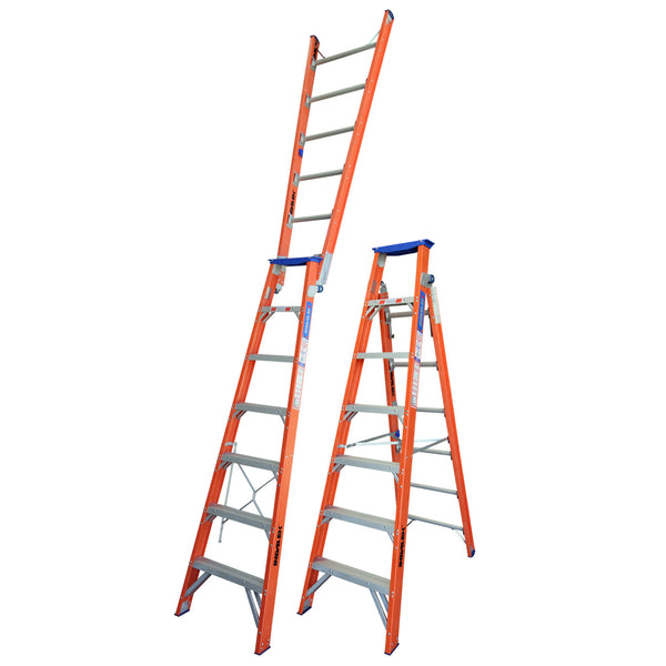 Indalex Pro-Series Fiberglass Dual Purpose Ladder 2.1m - 3.8m