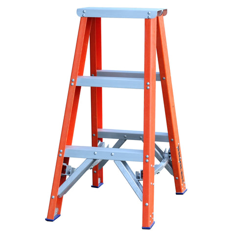 Indalex Pro-Series Fibreglass Double Sided Step Ladder 0.9m 3ft