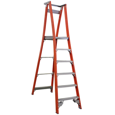 Indalex Pro-Series Fibreglass 6 Step 1.8m Platform Ladder (2.7m Rail)