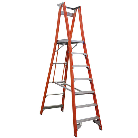 Indalex Pro-Series Fibreglass 7 Step 2.1m Platform Ladder (3m Rail)