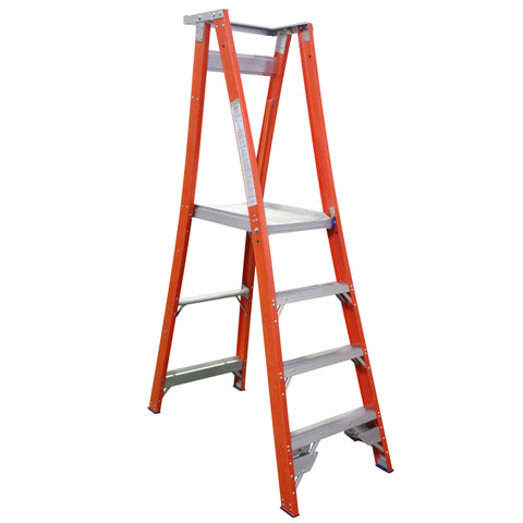 Indalex Pro-Series Fibreglass 4 Step 1.2m Platform Ladder (2.1m Rail)
