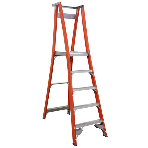 Indalex Pro-Series Fibreglass 5 Step 1.5m Platform Ladder (2.4m Rail)