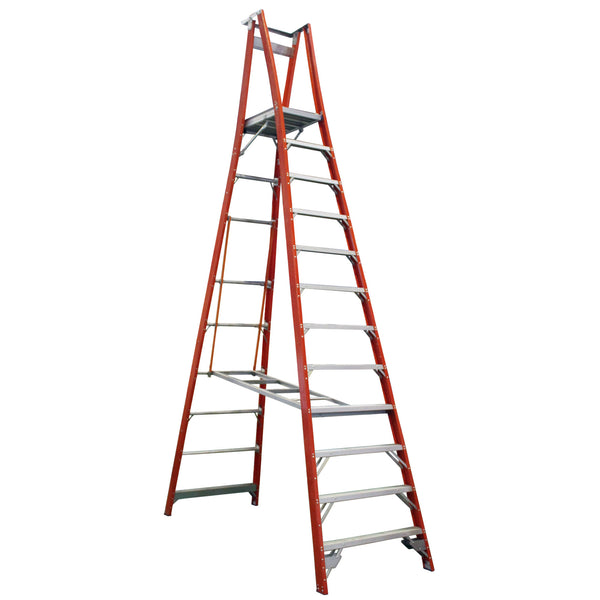 Indalex Pro-Series Fibreglass 12 Step 3.6m Platform Ladder (4.6m Rail)