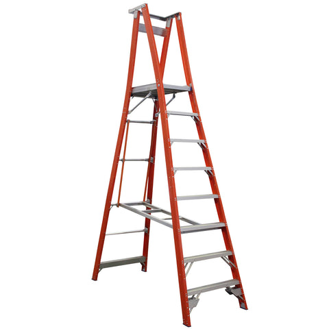 Indalex Pro-Series Fibreglass 8 Step 2.4m Platform Ladder (3.4m Rail)