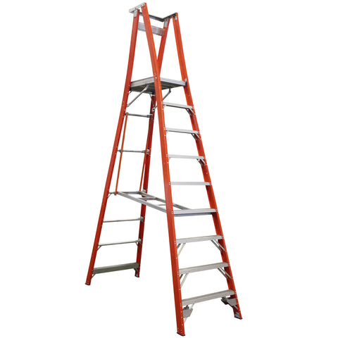Indalex Pro-Series Fibreglass 9 Step 2.7m Platform Ladder (3.7m Rail)