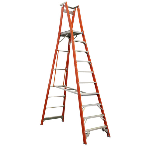 Indalex Pro-Series Fibreglass 10 Step 3m Platform Ladder (4m Rail)