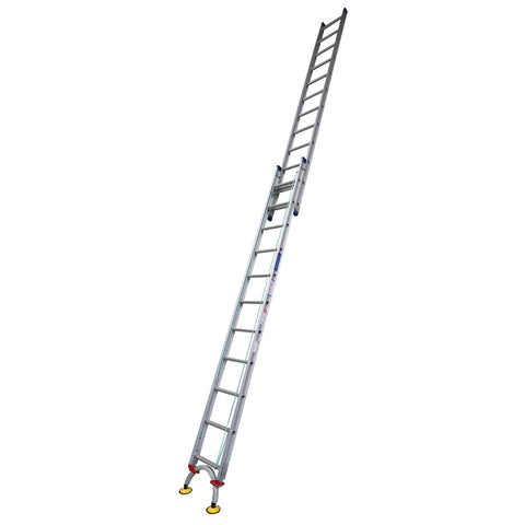 Indalex Pro Series Aluminium Extension Ladder 3.8m - 6.5m with Level-Arc