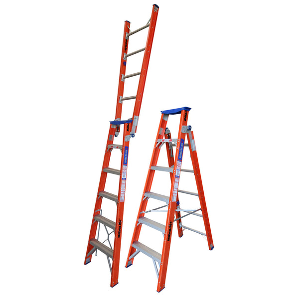 Indalex Pro-Series Fiberglass Dual Purpose Ladder 1.8-3.2m