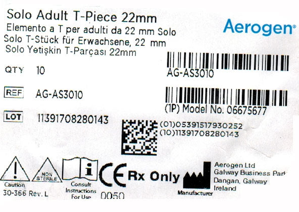 Nebulizer, Aerogen T-Piece, pack of 10