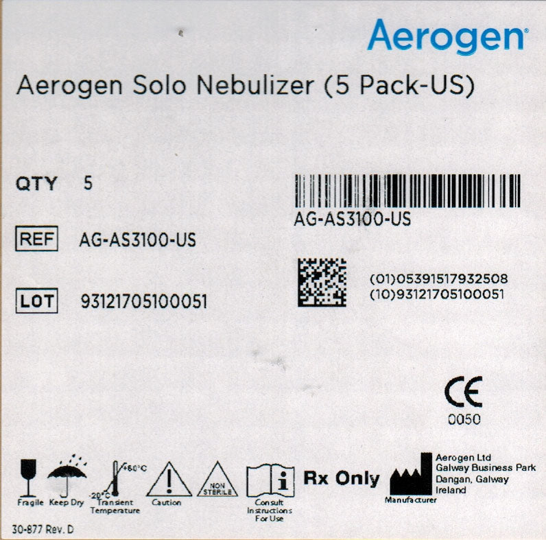 Nebulizer, Aerogen Solo, pack of 5