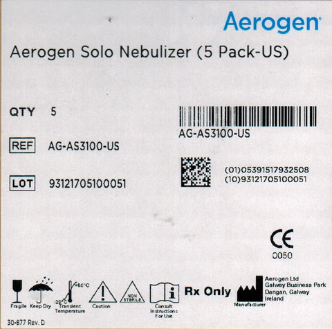 Nebulizer, Aerogen Solo Tee, pack of 5