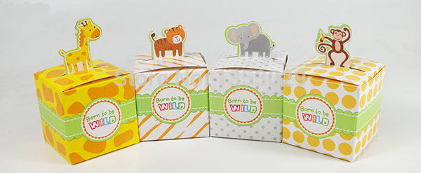 100PCS Giraffe/Elephant/Monkey/Tiger Animals Baby Shower favor Box Kids Birthday Candy Box Wedding Party Favours Gift Box