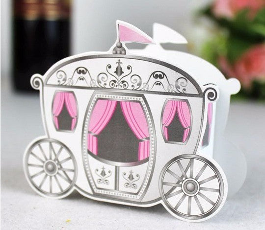 100pcs Pink princess carriage candy box DIY favor box wedding candy gift favour box for birthday baby shower