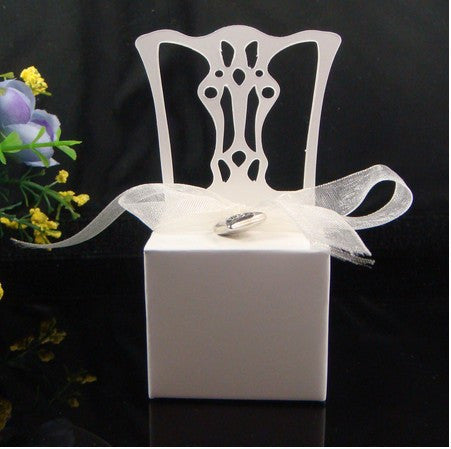 100pcs Wedding Favour boxes Silver/ gold /white Chair Favor Box with Heart Charm and Ribbon