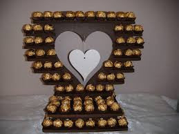 Large Heart Shape Ferrero Rocher / Cup Cake Table Stand  HIRE ONLY