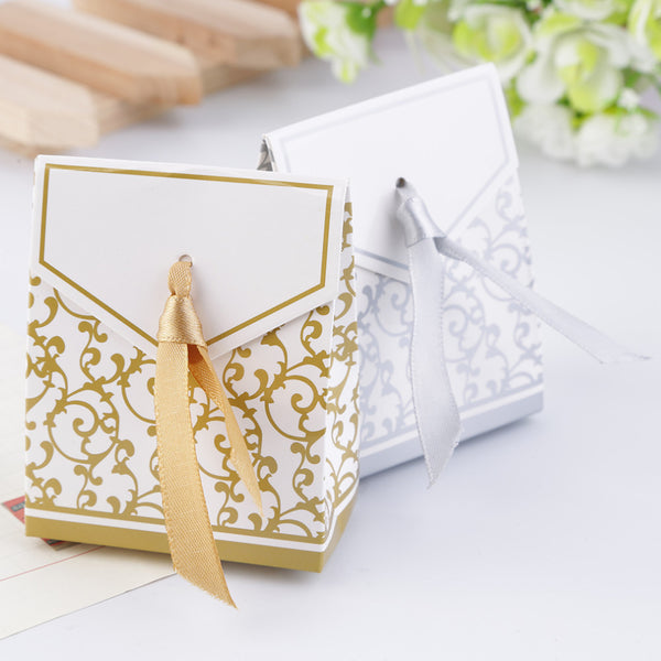 10pcs Golden or Silver Ribbon Wedding Favours Party Gift Candy Paper Box