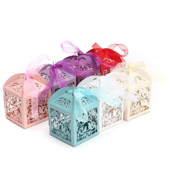 10 x Love Birds Wedding Favour Boxes