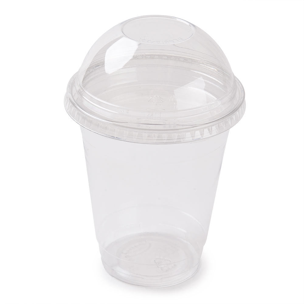 20 x 12OZ /400ML MEDIUM SMOOTHIE CUPS WITH DOMED LIDS CLEAR PLASTIC