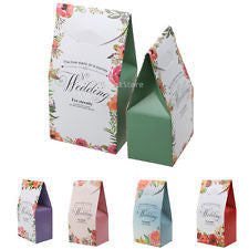 50pcs Wedding Anniversary Party Favor Boxes Candy Sweet Cake Gift Boxes Bags