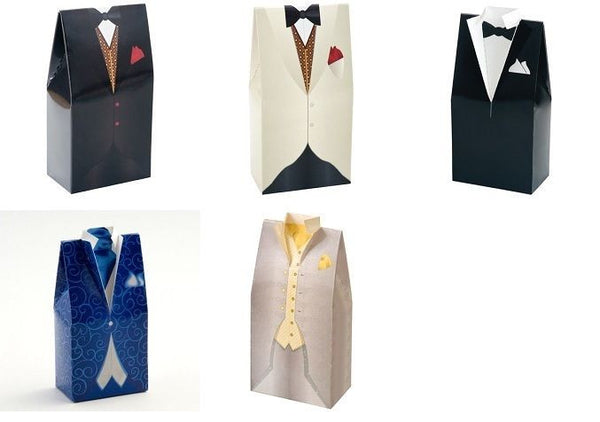 10 x Men's Favour Boxes - Tuxedo/ Morning Suit - Various Designs & Colours