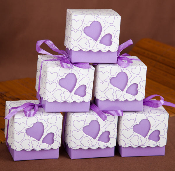 8 Pcs Wedding Favors Boxes,Paper Box,Favour Gift,Heart Design Kids Birthday Party Supplies Paper Candy Box