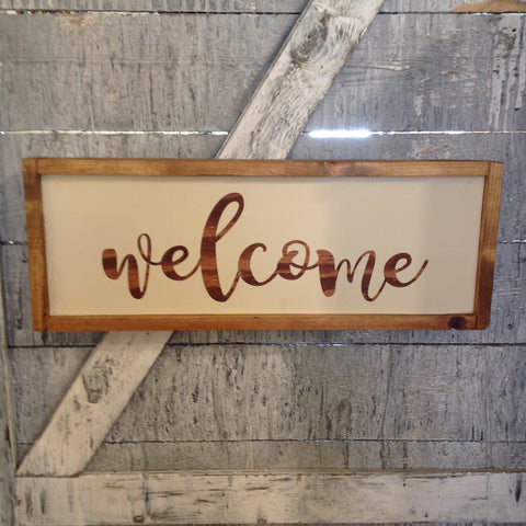 Welcome sign with stained letters