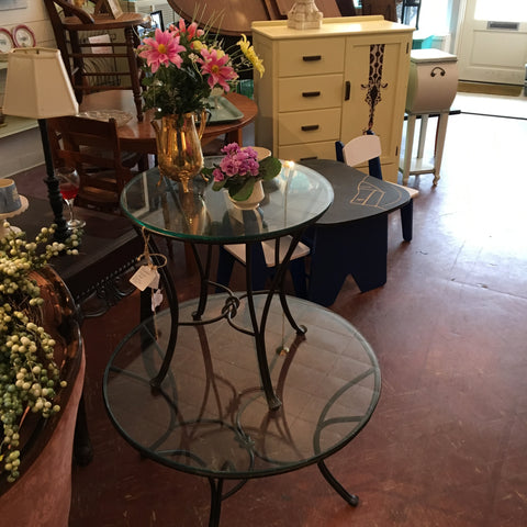 wrought iron table with glass