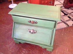 Green side table with storage