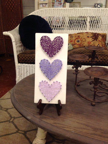 3 purple hearts string art