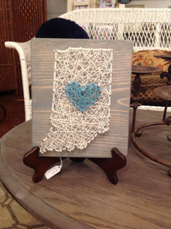 Indy with blue heart string art