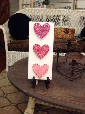 3  pink hearts string art