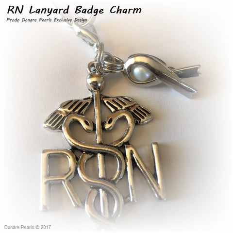 RN Lanyard Badge Charm with Ribbon of Hope & Pearl