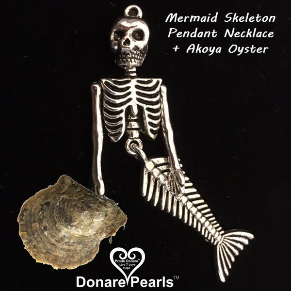 Mermaid Skeleton Pendant+ Pearl(s)
