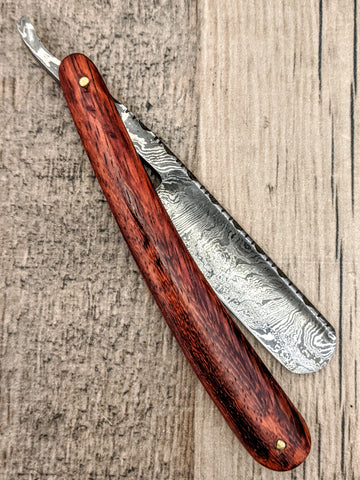 HTS-91 Damascus Straight Razor  / Shave / Handmade / Custom / Forged / Paduk Handle / Hand Filed Spine / Utility