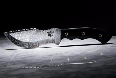 HT-14b Damascus knife / Tracker / Hand Made / Custom / Forged Damascus / High Polished / Micarta handle/ Survival Tool / Bushcraft / Field