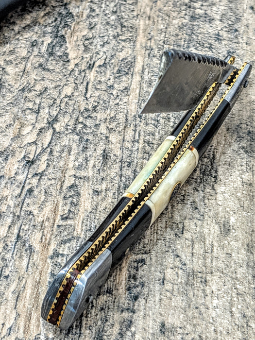 HTRN-2 Damascus Straight Razor  / SHAVE / Handmade / Custom / Forged / Bone Horn Handle / Hand Filed Spine / SHARP