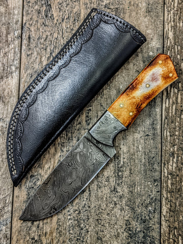 HTS-521 Burnt Bone Damascus Skinner // Hunting // Skinning // Camping // Functional Beauty