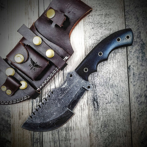 HTS-2 Wide SANMAI Damascus Tracker Blk / Handmade / Custom / Forged  / High Polished / Micarta handle/ Survival Tool / Bushcraft / Field - HomeTown Knives