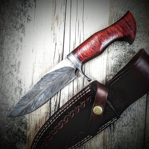 HTS-5 Damascus FEATHER Bowie // Custom // PADUK Wood Handle Beautiful Burls // Damascus Fittings / Feather Forged Pattern // Camp // Hunting - HomeTown Knives