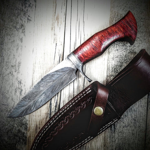 HTS-5 Damascus FEATHER Bowie // Custom // PADUK Wood Handle Beautiful Burls // Damascus Fittings / Feather Forged Pattern // Camp // Hunting