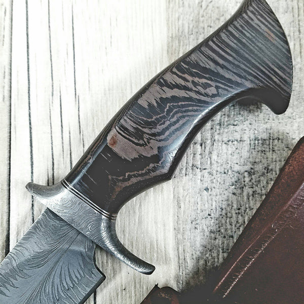 HTS-7 Damascus FEATHER Bowie // Custom // WENGE Wood Handle Amazing grains // Damascus Fittings / Feather Forged Pattern // Camp // Hunting