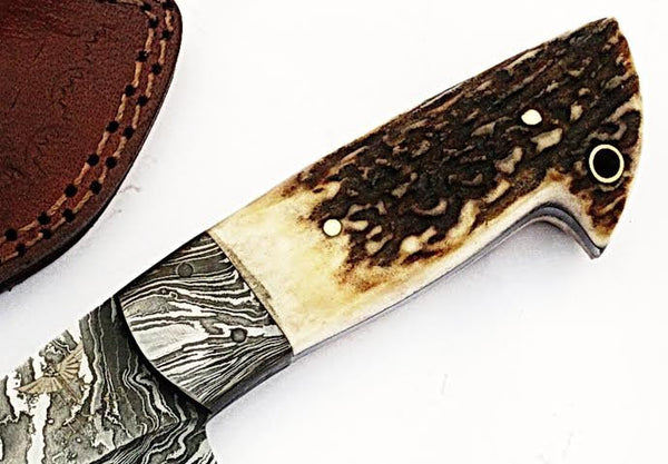 HTS-505  Damascus Knife custom handmade Skinner Knife / Stag Horn / Fire Pattern / Great quality / Camping / Hunting