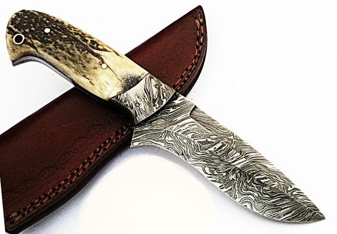 HTS-504  Damascus Knife custom handmade Skinner Knife / Stag Horn / Fire Pattern / Great quality / Camping / Hunting
