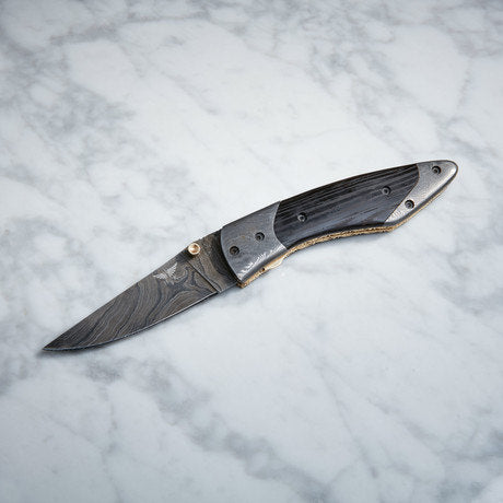HT-300 Bijou Damascus Folder / Pocket / Handmade / Jewelers Knife / Forged / Ram Horn / Hand Filed Spine / ART / Perfection / Smooth / Thin