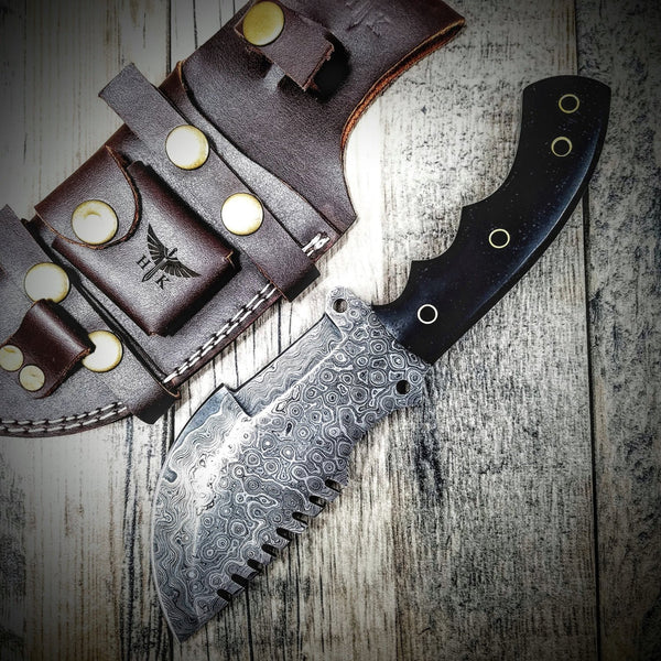 HTS-2 Wide SANMAI Damascus Tracker Blk / Handmade / Custom / Forged  / High Polished / Micarta handle/ Survival Tool / Bushcraft / Field