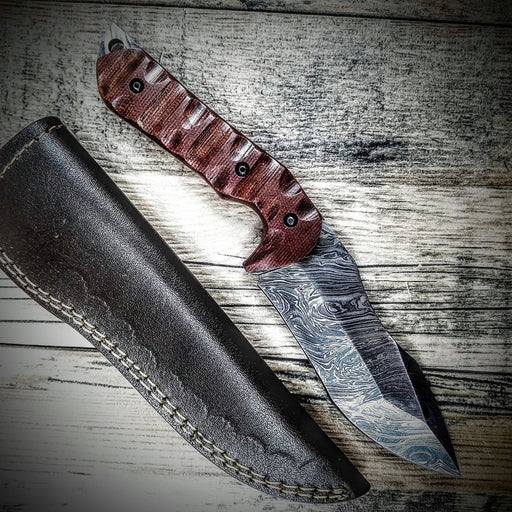 HTS-4 Damascus  Knife/ Tanto Skinner / Hunting / Camping / Hand Made / Custom / Micarta Handle - HomeTown Knives