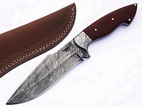 HTS-105 Damascus  Knife/ Skinner / Hunting / Camping / Hand Made / Custom / Micarta Handle