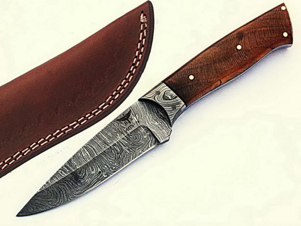 HTS-76 Damascus Utility Knife/ Skinner / Hunting / Camping / Hand Made / Custom / EXOTIC HIMALAYAN Wood Handle /
