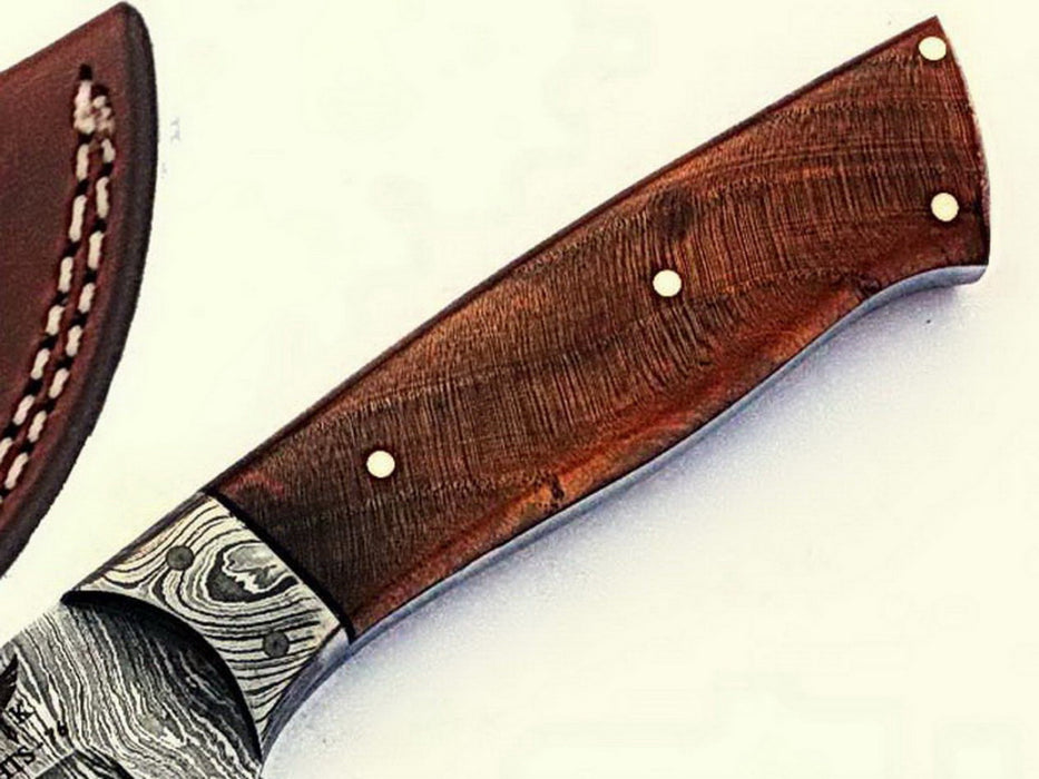 HTS-76 Damascus Utility Knife/ Skinner / Hunting / Camping / Hand Made / Custom / EXOTIC HIMALAYAN Wood Handle / - HomeTown Knives